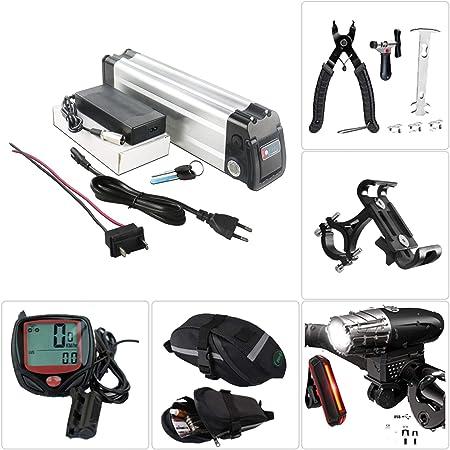 Batería de bicicleta eléctrica de litio 48V/36V/24V Batería de bicicleta eléctrica recargable Batería faro de carga USB y juego de luces traseras, herramienta de extracción, bolsa de sillín,48V10Ah: Amazon.es: Hogar