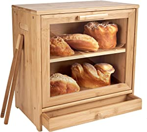 WORTHYEAH Bamboo Bread Box with Clear Window, 2 Adjustable Layer Wooden Bread Storage Bin with Utensil Tray Drawer Organizer, Large Capacity Bread Holder for Kitchen Counter Top