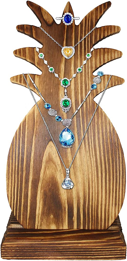 Brown Fabric Freestanding Necklace Display Bust with Adjustable Metal Stand