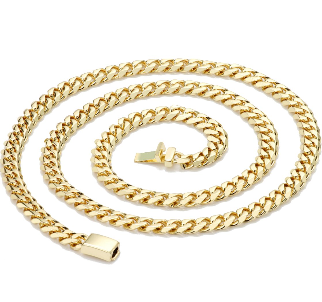Gold chain necklace 14.5MM 24K Diamond cut Smooth Cuban Link with Warranty Of A LifeTimeLifetime USA made (28) by 14k Diamond Cut Smooth Cuban (Image #2)