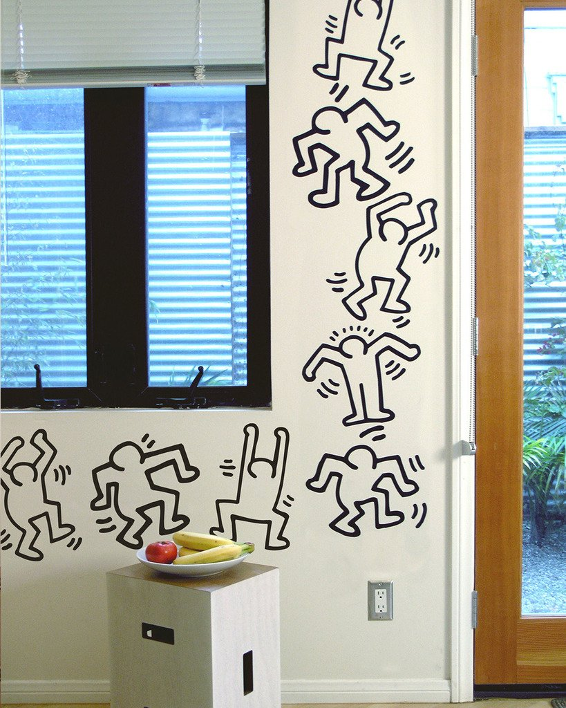 Keith Haring Dancers, Black Line Art, Officially Licensed, 13-inch Removable Wall Decals, Made in the USA, by BLIK Surface Graphics