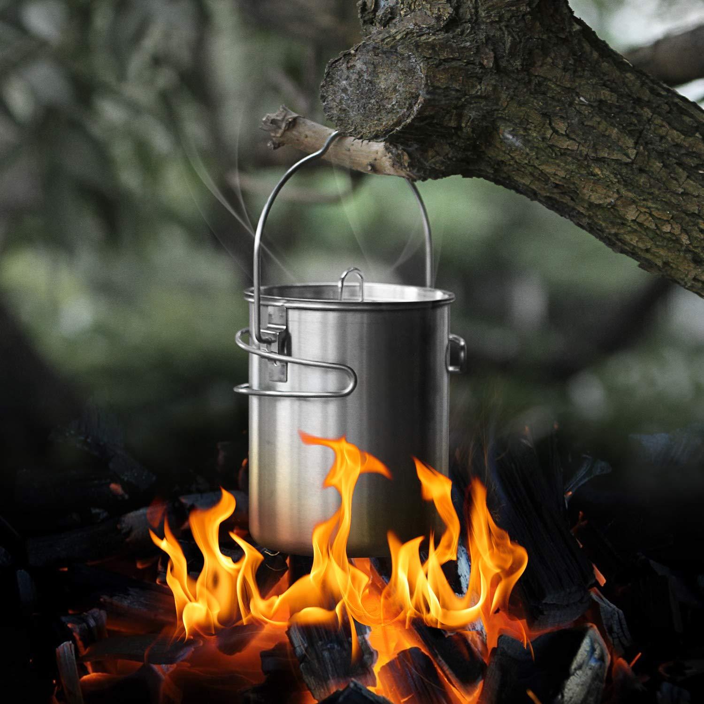 Faltbare Besteck f/ür Camping Survival inkl 8-teiliges Camping Geschirr Set f/ür offenes Feuer geeignet Odoland Edelstahl Camping Kochset Camping Topf mit Camping Becher u