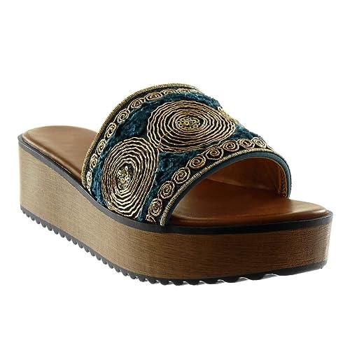 Angkorly - Chaussure Mode Mule Sandale Slip-on Plateforme Femme Fantaisie  brodé Bois Talon compensé 6a002922ea18