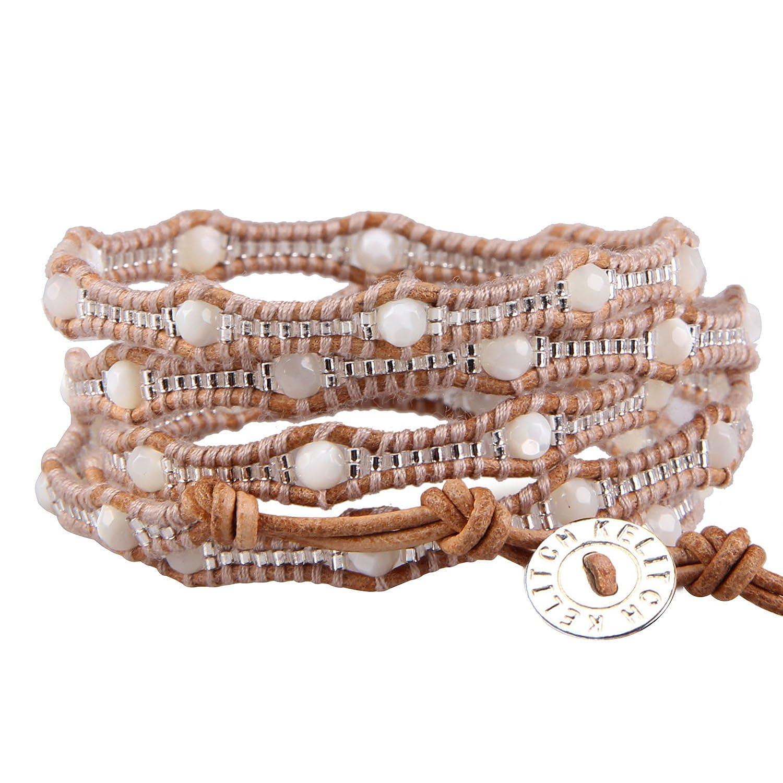 KELITCH Created Turquoise Pink Crystal Seed Beaded 5 Wrap Bracelet Handmade Cuff Long Bracelets New Jewelry AZ5WM-00606K