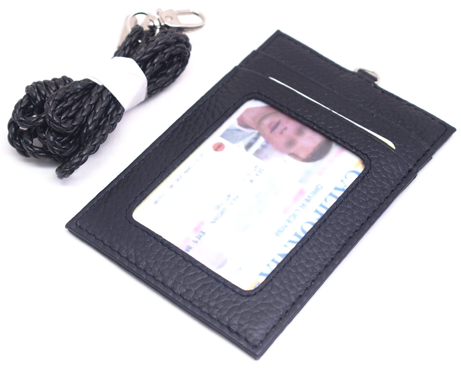 ENCACC Leather Slim Neck Wallet Business Id Card Badge Holder Lanyard Purse (Black EN27)