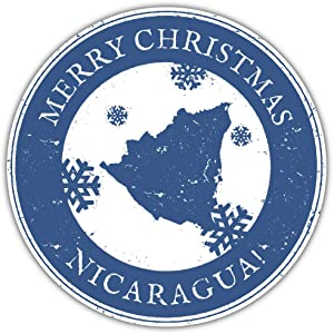 SkyLabel Merry Christmas Nicaragua Grunge Travel Bumper Sticker Vinyl Art Decal for Car Truck Van Window Bike Laptop