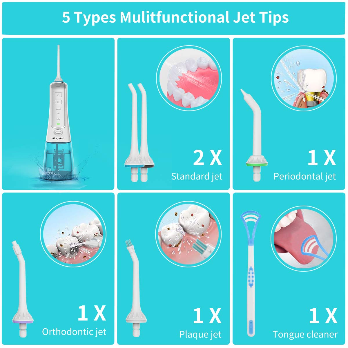 Morpilot Hydropulseur Jet Dentaire sans fil, Irrigateur oral dentaire Portable Air Flosser, 3 modes 6 buses de jet,IPX7 imperméable, Rechargeable USB avec et réservoir 300 ml