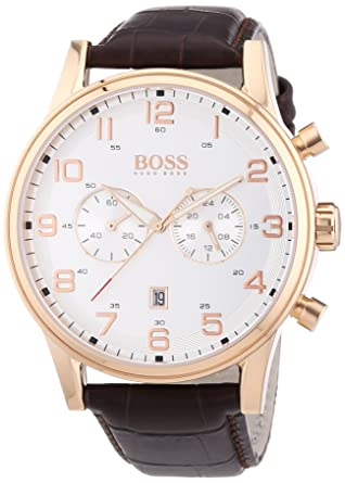 hugo boss 1512921 aeroliner wristwatch men s leather band hugo boss 1512921 aeroliner wristwatch men s leather band colour chocolate
