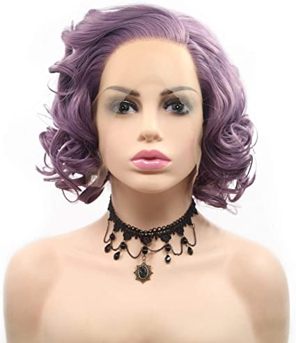 Oscuro Púrpura/Lila Peluca Corto Agua Ola Mover Peluca Sintético Cordón Frente Peluca para Mujer Chicas Lado Parte para Partido Cosplay Calor Resistente: Amazon.es: Belleza