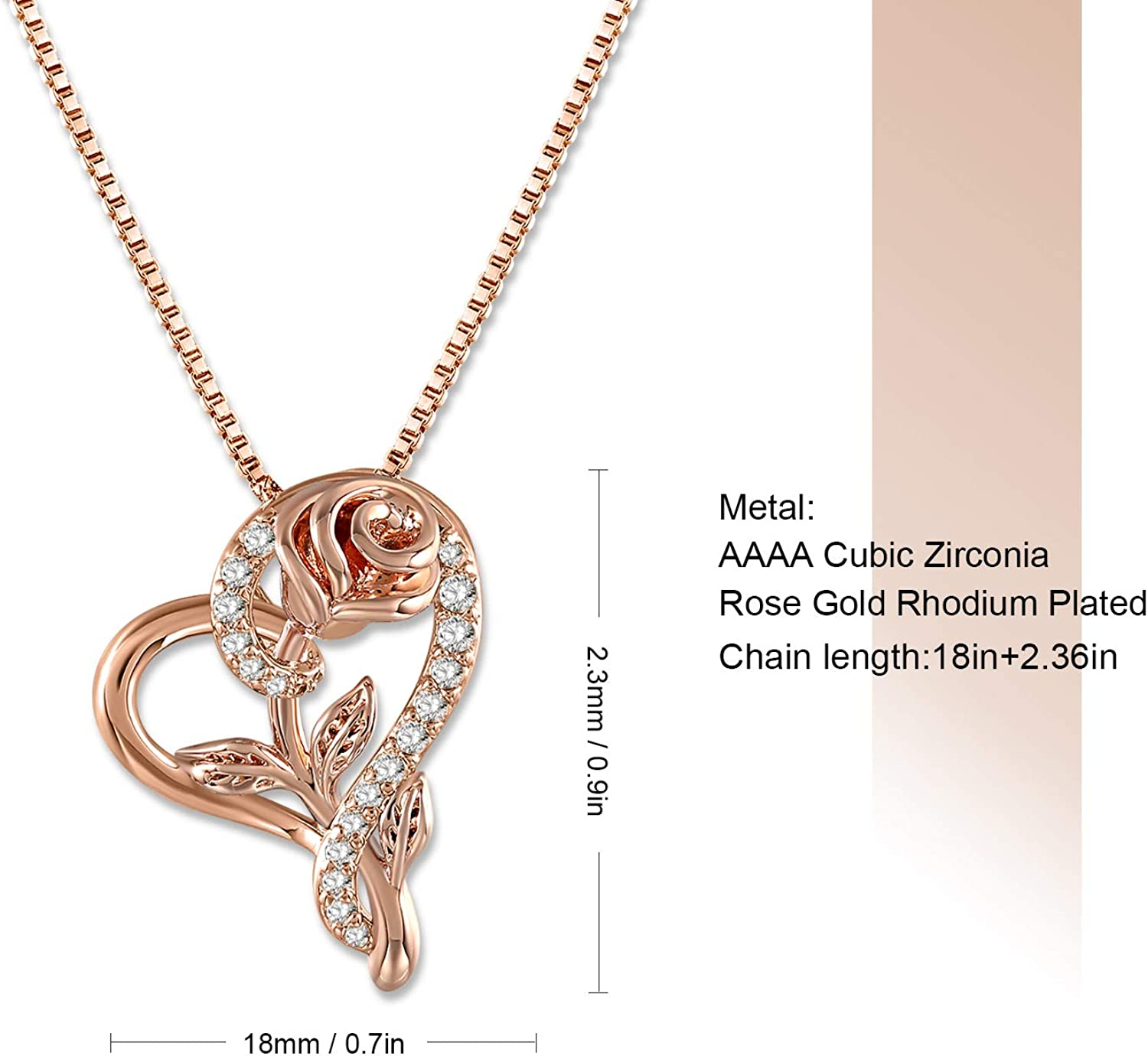 Heart Pendant Necklace for Women Birthday Valentines Day Rose ...