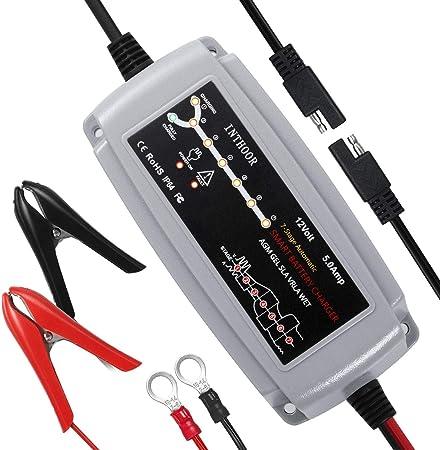 Inthoor 5a 12v Vollautomatisches Autobatterie Ladegeräte Intelligentes Batterieladegerät Wasserdichte Und Led Ladefortschrittsanzeige Für Kfz Auto Pkw Motorrad Atv Boot Für Batterien Von 15ah 120ah Auto