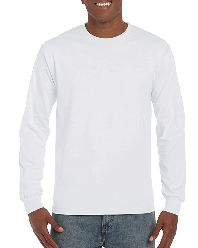 Gildan Men's Ultra Cotton Jersey Long Sleeve Tee Extended Sizes, White, XXX-Large