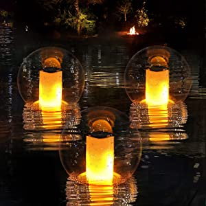 Solar Lights Outdoor,IP68 Waterproof Led Solar Lantern Lights with Flickering Flame,Floating Solar Pool Glow Balls light with ON/OFF, Landscape Decoration Lighting for Pool Pond Bath Garden Patio-1pcs
