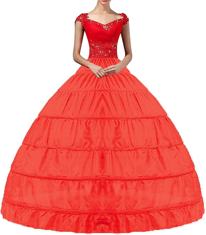 YULUOSHA Damen Lang Reifrock Hochzeit 20 Hoop Unterrock Crinoline Petticoat  Fuer Abendkleider Ballkleider Promkleider Hochzeitskleider Brautkleider