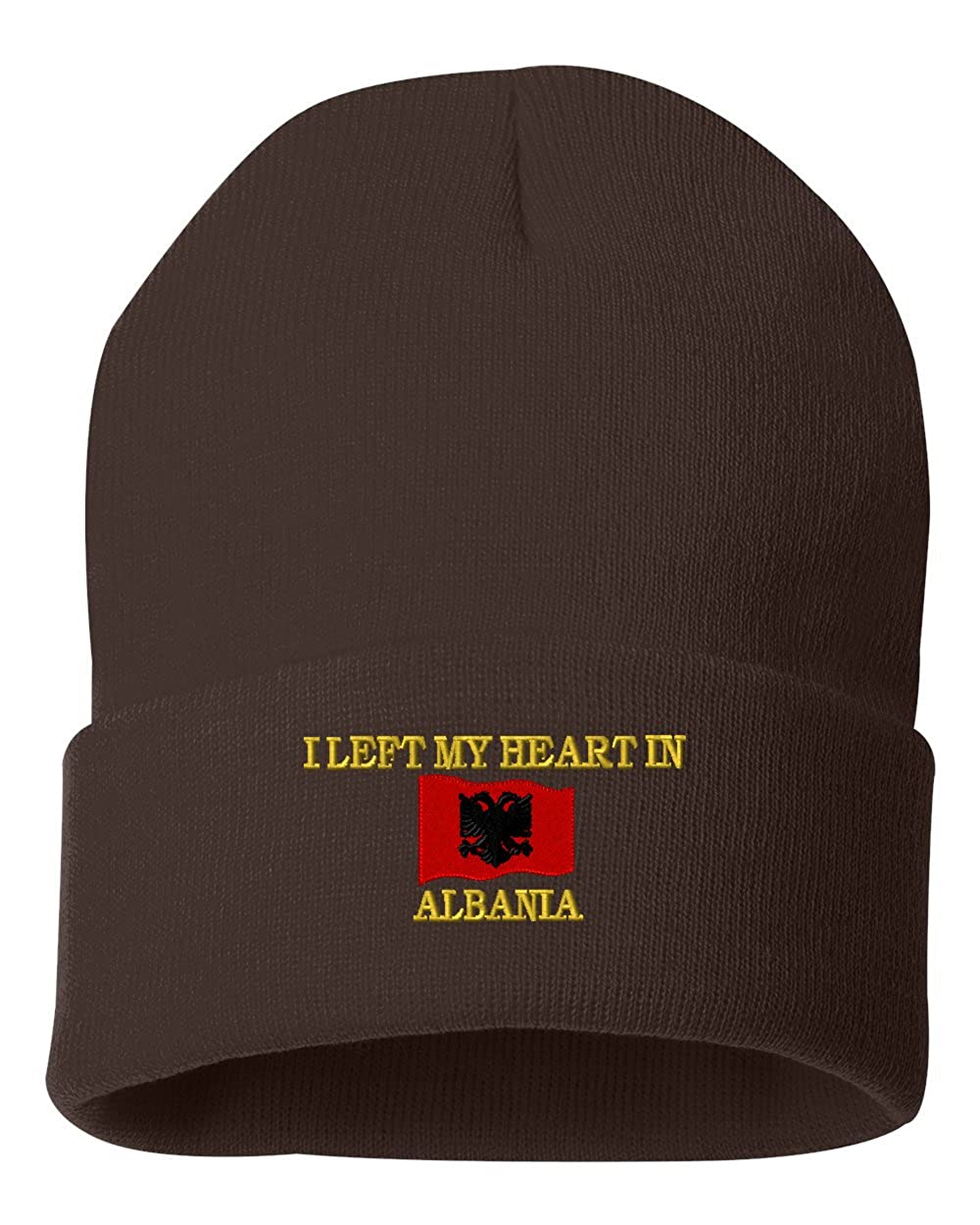 I LEFT MY HEARD IN ALBANIA Custom Personalized Embroidery Embroidered Beanie