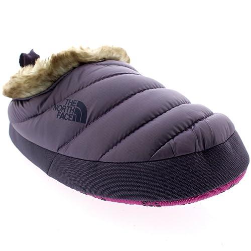 Mujer The North Face Nuptse Tent Faux Pieles III Mules Zapatillas - Morado/Gris - 40.5-42.5: Amazon.es: Zapatos y complementos