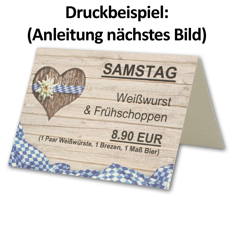300 Tisch-Karten Bavaria DIN A7 - Falt-Karten 7,4 x 10,5 10,5 10,5 cm bedruckbar - Namens-Kärtchen für Feste, Biergarten, Gastro, Hotel - von Ihrem Glüxx-Agent B07GJD3RKD | Angenehmes Aussehen  f20d9a