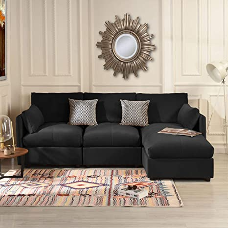 Black Velvet Sectional Sofa Couch with Chaise Lounger, Modern Overstuffed L  Shaped Plush Sofa, Velvet Fabric Sectional Sofas and Couches for Living ...