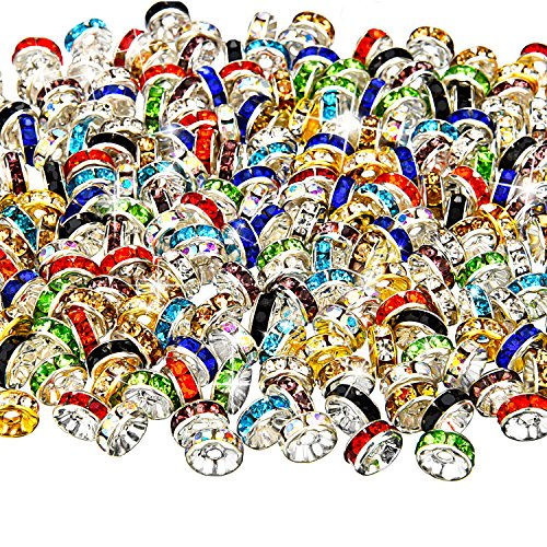 (Bememo 200 Pieces Mixed Color Rondelle Beads, 10 Colors for Jewelry Making)