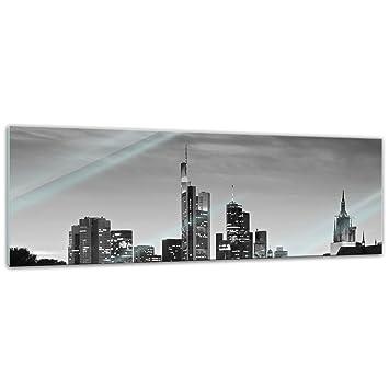 Deutschland bei Nacht Deutschland Glasbild Frankfurt Skyline