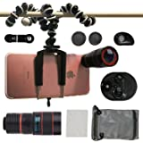 Phone Camera Lenses, Collasaro Camera Lens Kit with HD Telephoto Lens, Fish-Eye Lens, 0.63X Wide Angle Lens, 15X Macro Lens and CPL Lens for iPhone and Android Smartphones (black)