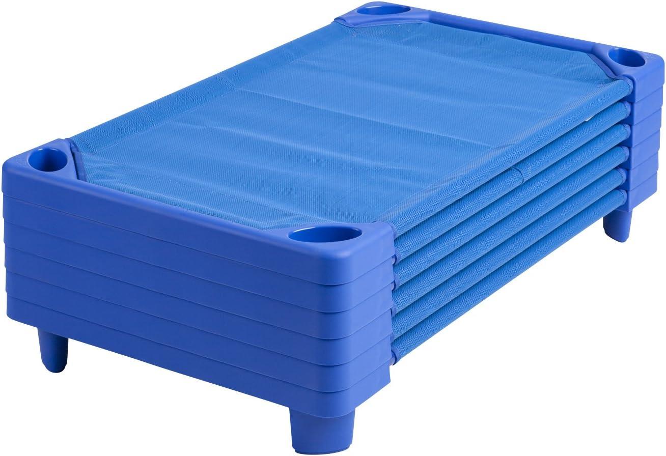 ECR4Kids Streamline Children s Naptime Cot, Stackable Daycare Sleeping Cot for Kids, 52 L x 23 W, Assembled, Blue Set of 6