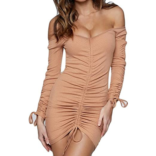 08a6b14f808b Women s Sexy Knitting Off The Shoulder Stretch Ruched Mini Bodycon Club  Dress (Khaki