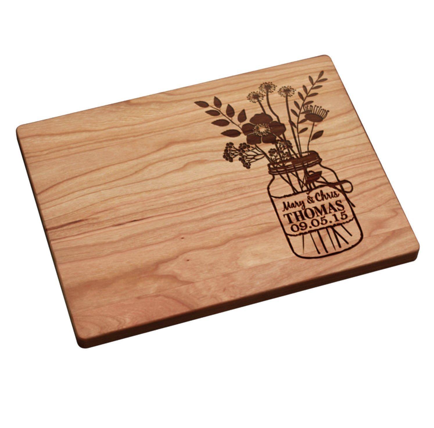 Amazoncom Personalized Cutting Board Mason Jar With Flowers