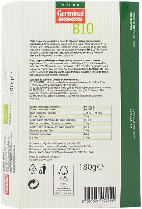 Germinal Burger de Aceitunas y Trigo Sarraceno, 180g: Amazon ...