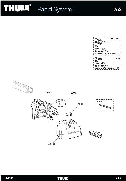 Pack of 4 Genuine Thule 184023 4023 Flush Railing Fitting Kit for Roof Bars