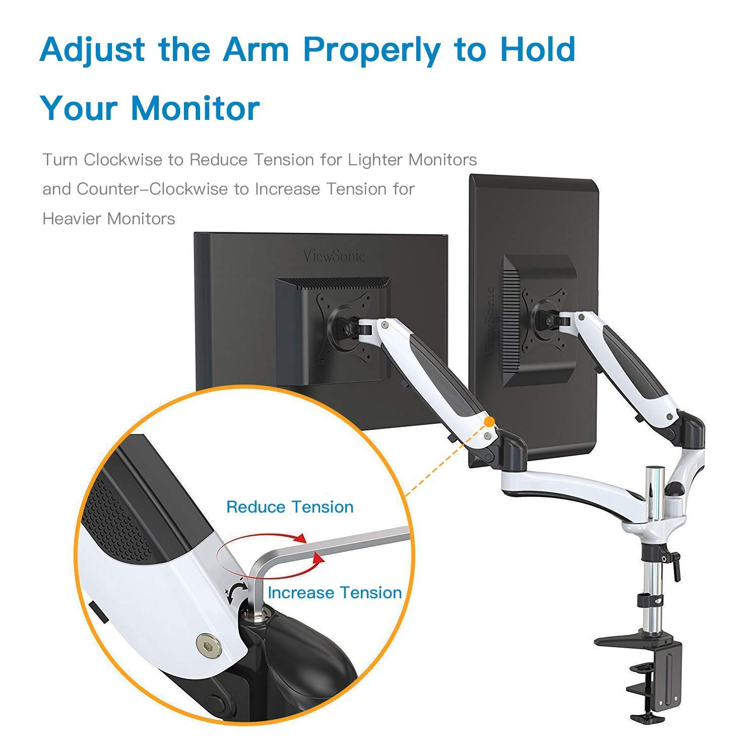 Support VESA 75x75 100x100 2 Pack Hold up to 8kg Each Arm Full Motion Dual Gas Spring Monitor Arm Desk Mount Stand Fits 15 to 27 LCD Computer Screens