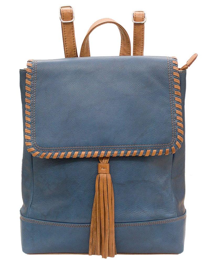 ili 6699 Leather Whipstitched Backpack Handbag (Jeans Blue/ Antique Saddle)