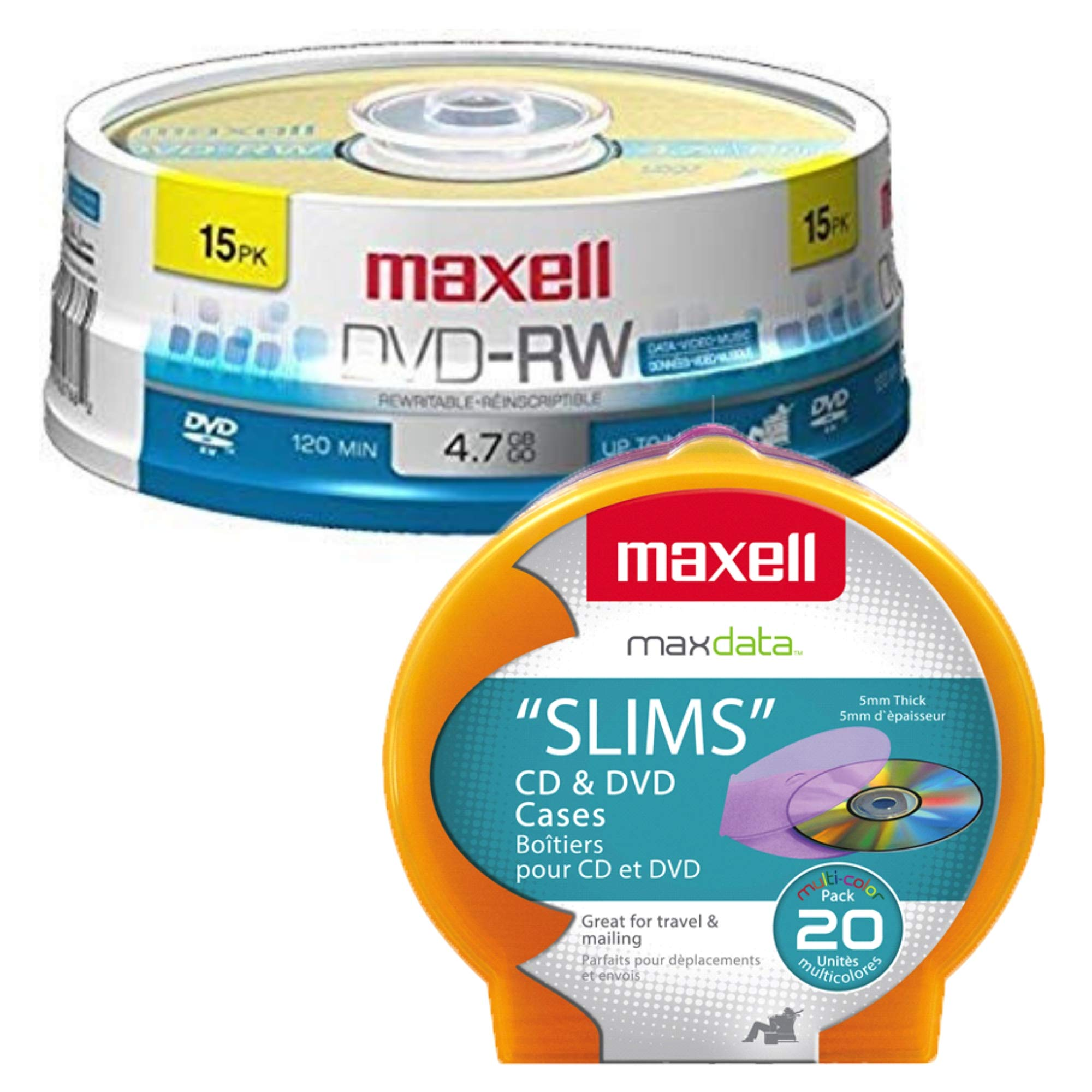 Maxell 4.7Gb DVD-RW 15 Pack Blank Discs and Maxell Disc Cases 20 Pack Assorted Colors Bundle
