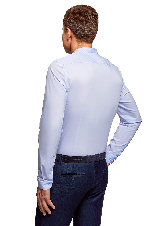 oodji Ultra Hombre Camisa Entallada con Cuello Mao