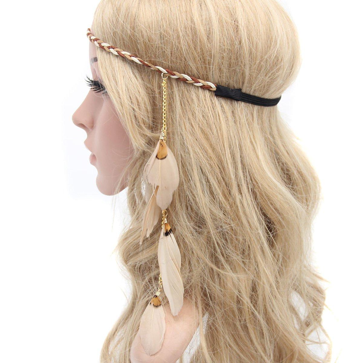 Hippie Costumes, Hippie Outfits Fodattm Women Lady Bohemian Tassels Hairband Headwear Hippie Feather Headband Hair Hoop Handmade Indian Fascinator Headband Hair Bands Headdress Hair Accessories (A#) $7.38 AT vintagedancer.com