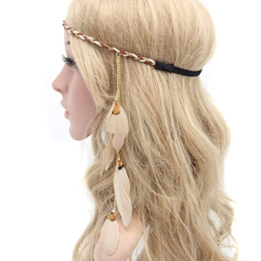 70s Headbands, Wigs, Hair Accessories Flyott Women Lady Bohemian Tassels Hairband Headwear Hippie Feather Headband Hair Hoop Handmade Indian Fascinator Headband Hair Bands Headdress Hair Accessories (A#) $8.37 AT vintagedancer.com