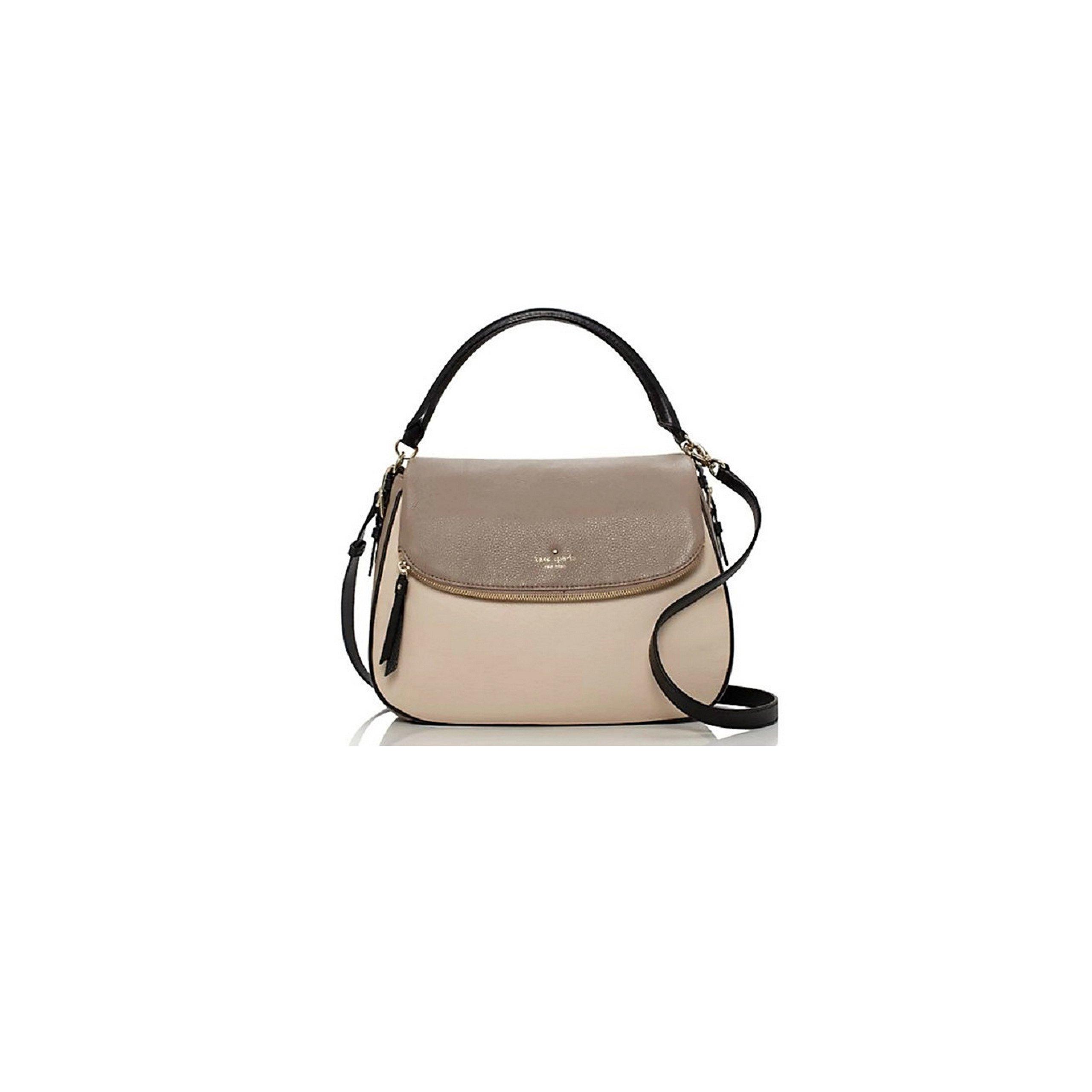 Kate Spade Cobble Hill Devin Leather Handbag Warm Putty/Black, PXRU 5154