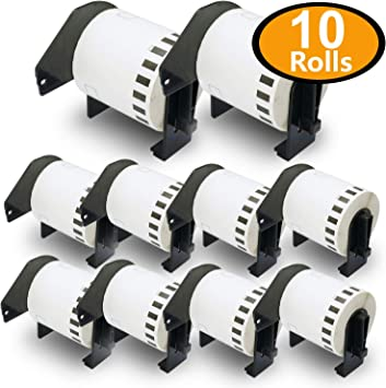 10 Rolls Brother DK-2212 2-3//7 x 50 Continuous Film Labels Compatible for Brother P-Touch QL-500 QL-500BW QL-570 QL-580 QL-700 QL-710W QL-800 QL-810W QL-820NWB QL-1110NWB QL-1100 QL-1060N QL-1050
