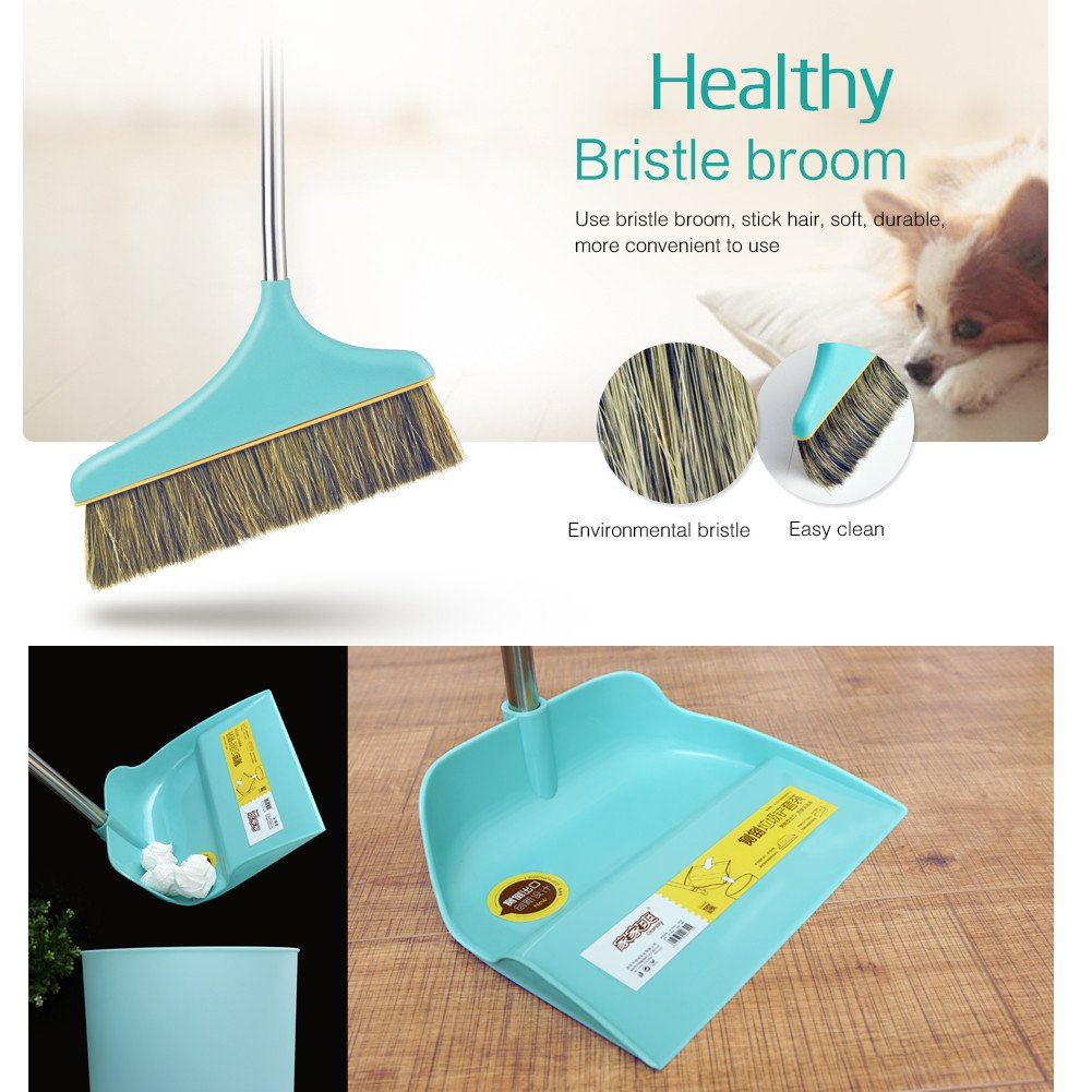 Upright Sweep Set, Material Home Casual Environmental Recycle Broom and Dustpan Set, Side Pour The Garbage for Kitchen Garden Home Office (Blue) by Biaky (Image #7)