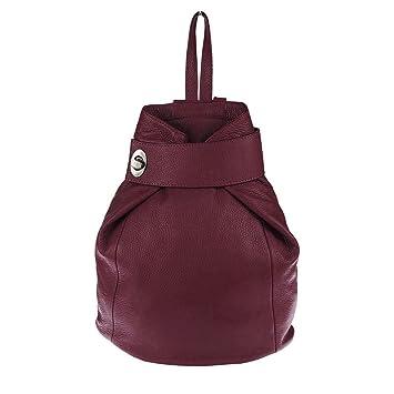 9ca53ae0613381 OBC Made in Italy Damen echt Leder Rucksack Daypack Lederrucksack Tasche  Schultertasche Ledertasche Handgepäck Nappaleder (