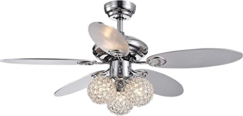 Warehouse of Tiffany CFL-8279REMO/CH Casimer Chrome 5-Blade 3-Light Crystal Bronze 42″ Ceiling Fan