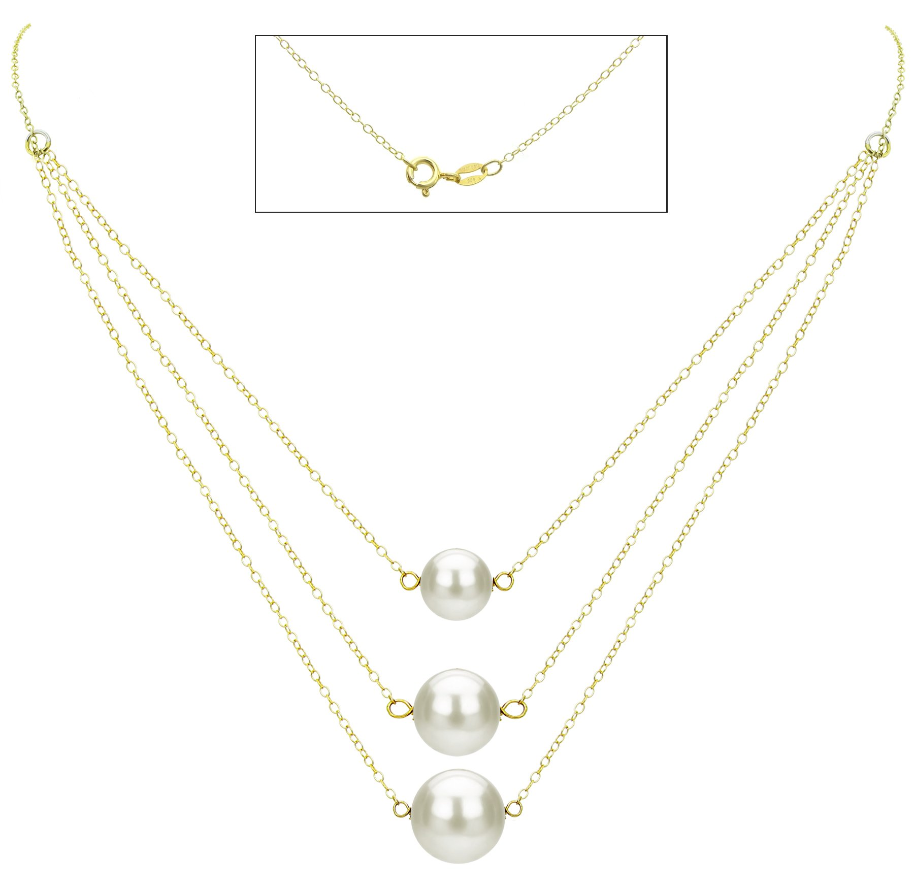 18k Yellow Gold Plated Silver Graduated 8.5-11.5mm White Freshwater Cultured Pearl Chain Necklace, 16.5''