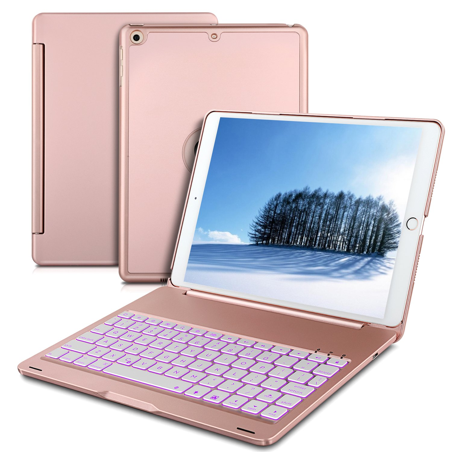 IVSO iPad Pro 10.5 Case with Keyboard Ultra-Slim Aluminum Auto Sleep/Wake Hard Shell Cover with 7 Led Backlit Colors Wireless Keyboard Case for iPad Pro 10.5 inch 2017 Tablet (Rose Gold)