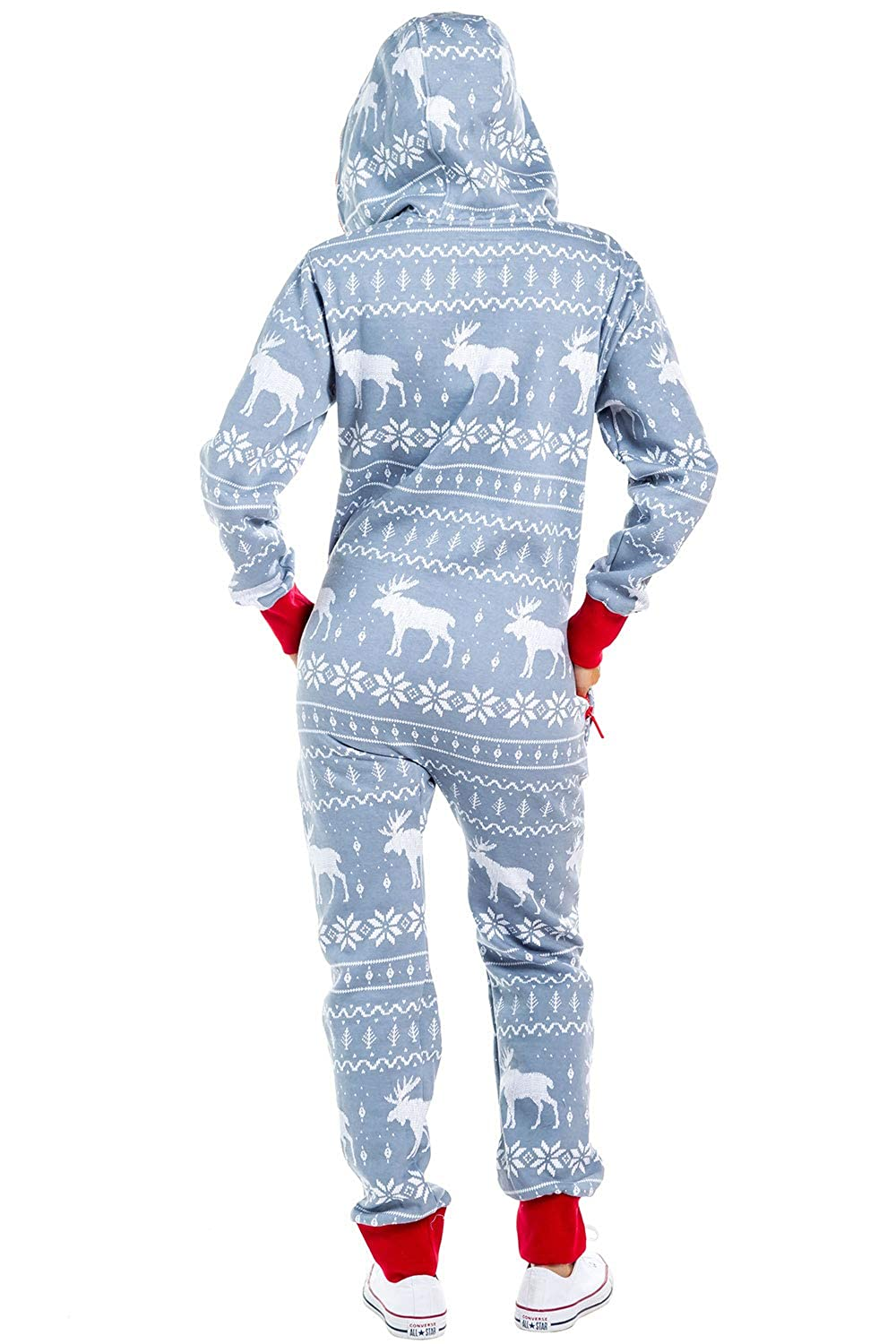 1d073bc68 Amazon.com: Tipsy Elves Women's Christmas Onesie Pajamas - Grey Moose Adult  Holiday Jumpsuit: Clothing