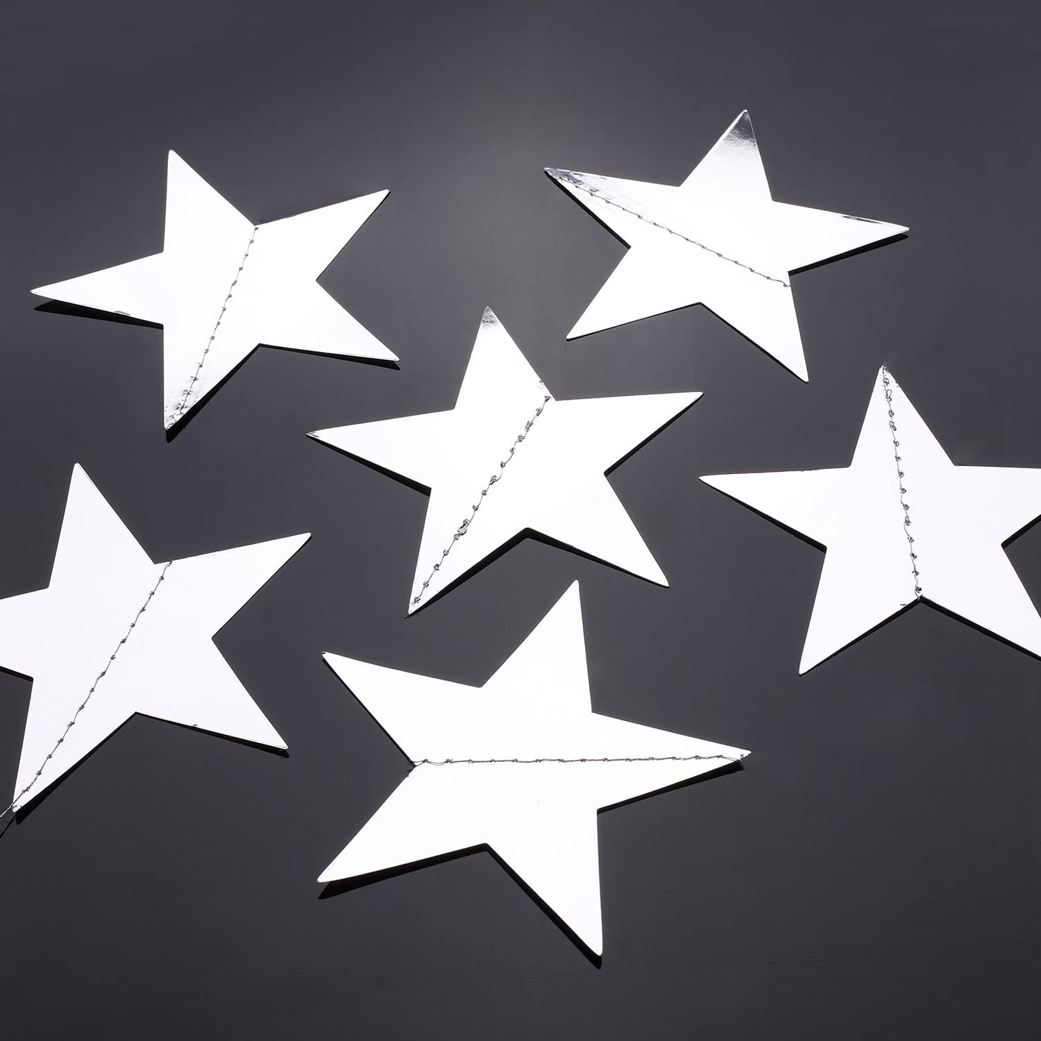 Gold Whaline 52 Feet Reflective Star Paper Garland Sparkling Star Bunting Banner for Wedding Birthday Party Holiday Decorations 2.75 Inches