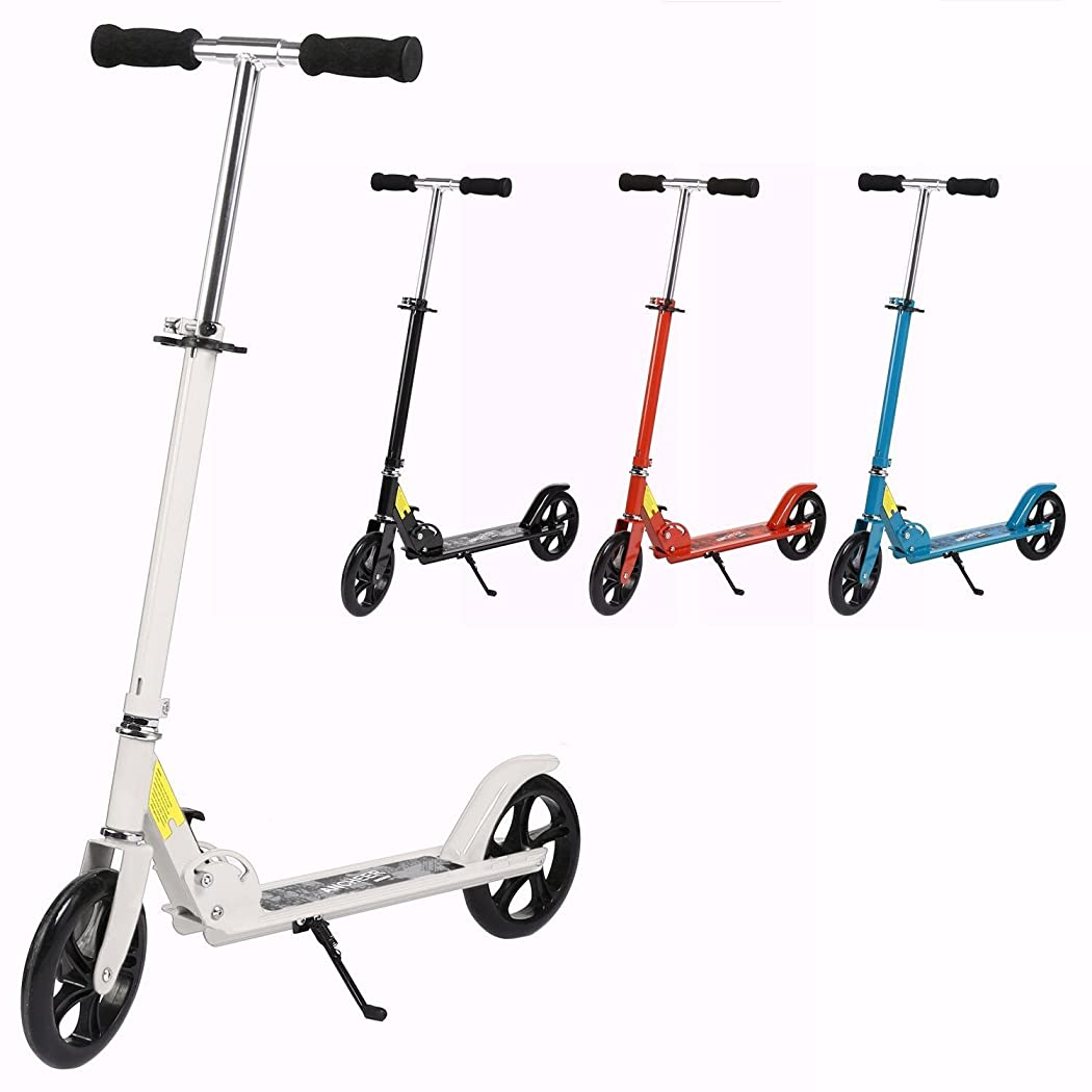 Dicesnow Foldable 3 Levels Adjustable Height 2-Wheel Kick Scooter Street Push Scooter for City Urban Riders Adults Teens