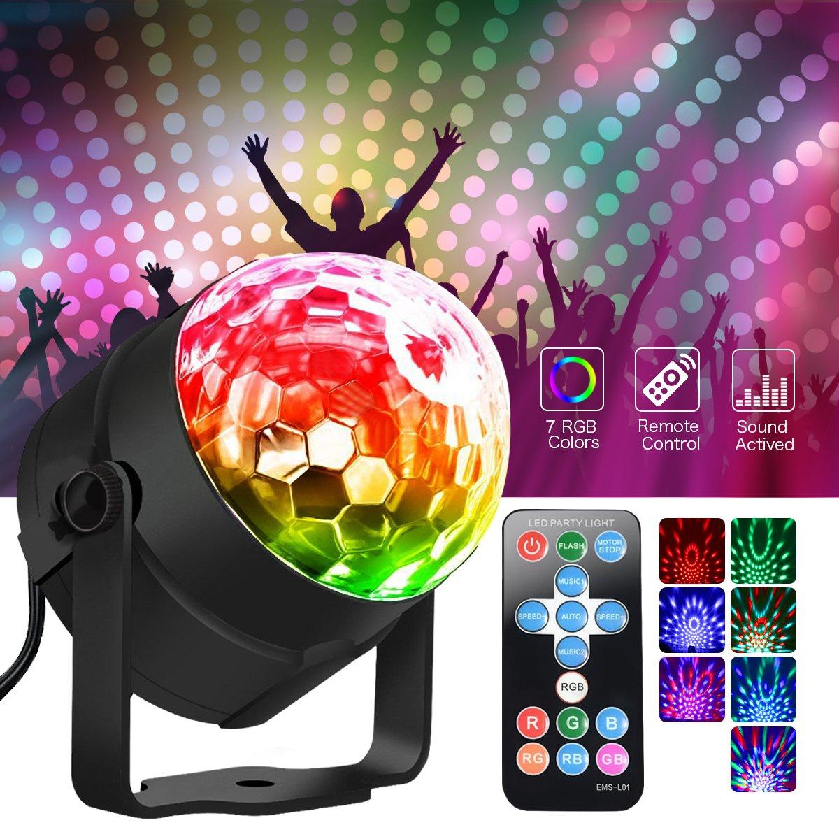 Metalbay LED Discoteca Party luci RGB LED AC85-240V 5W Ball Lighting Light DJ Disco Stage lampada multicolore con telecomando per Anniversary Party KTV regalo di Natale… 239390