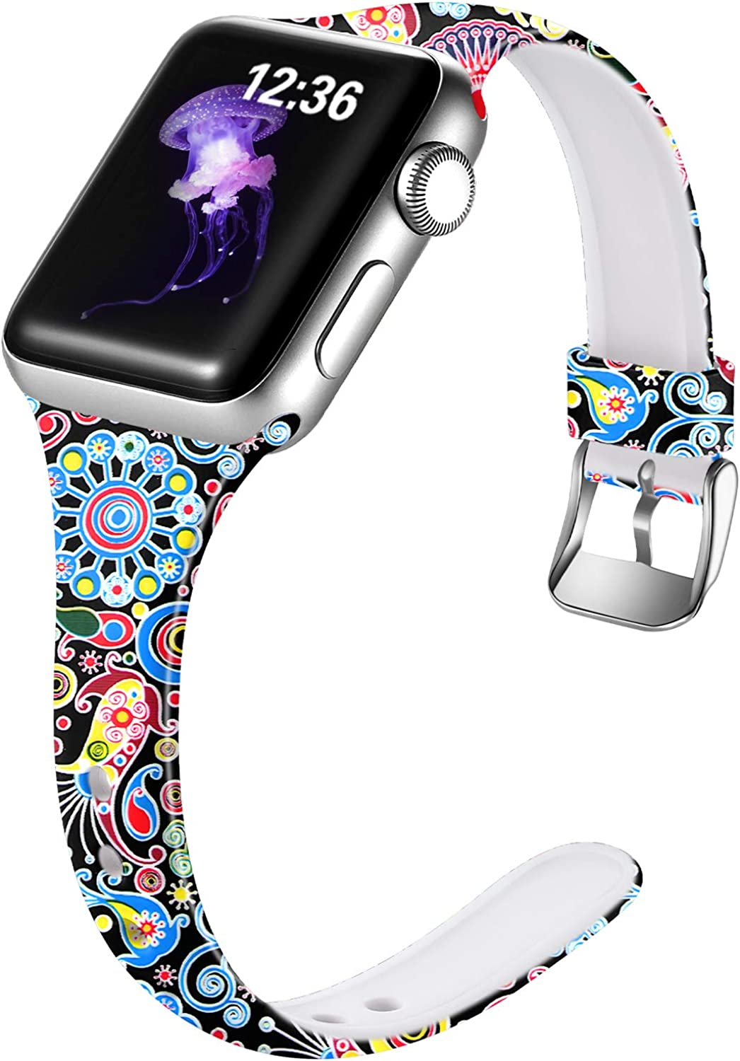 Laffav Slim Band Compatible with Apple Watch 38mm 42mm 40mm 44mm for Women Men, Fadeless Pattern Soft Silicone Narrow Thin Sport Strap for iWatch Series 5 4 3 2 1