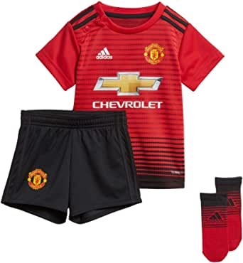 adidas Baby Boys' Manchester United H Baby Bodysuit, Top:Real Red/Black Bottom:Black/Black(Red), 68(0-6 Months)