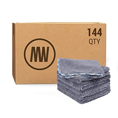 "Buff Detail Microfiber Auto Detailing Towels (16"" x 16"") - 550 GSM Microfiber Car Towels for Washing Drying Waxing Buffing Polishing (Case of 144, Gray): Automotive"